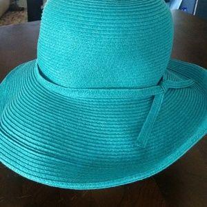 """Scala Turquoise Floppy Summer Hat 23""""band 4""""Brim"""